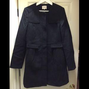 EUC LOFT Black Wool Car Coat - L Tall